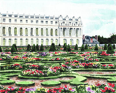 Netherlands Painting - Gardens Of Versailles Palace Chateau Springtime Paris France Marie Antoinette by Laura Row