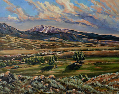 Gardiner And Electric Peak From Scotty's Place Art Print