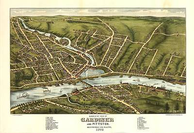 Gardiner And Pittston Maine 1878 Art Print by Mountain Dreams