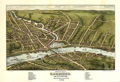 Gardiner And Pittston Maine 1878 Art Print