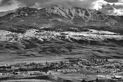 Photograph - Gardiner Montana Overlook Black And White by Adam Jewell