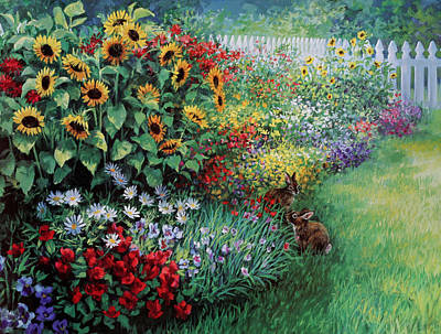 Art In The Garden Painting - Gardner's Luck by Laurie Hein