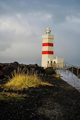 Photograph - Gardur Lighthouse Reykjanes Peninsula Iceland by Deborah Smolinske