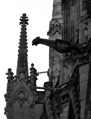 Gargoyle And Gothic Steeple At Notre Dame Cathedral Paris France Black And White Art Print