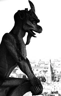 Photograph - Gargoyle Atop Gothic Notre Dame Cathedral Overlooking Paris France Black And White by Shawn O'Brien