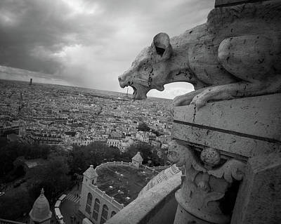 Sacre Coeur Photograph - Gargoyle Hungry For The Eiffel Tower by James Udall