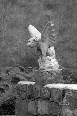 Sculpure Photograph - Gargoyle In Black And White by Suzanne Gaff