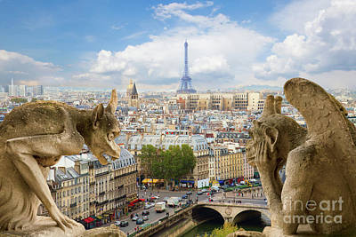 Paris Skyline Royalty-Free and Rights-Managed Images - Gargoyle on Notre Dame Cathedral by Anastasy Yarmolovich