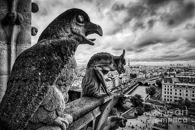 Frightening Photograph - Gargoyles And Chimera Statues Of Notre Dame Over Paris, France. Black And White by Michal Bednarek