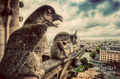 Photograph - Gargoyles And Chimera Statues Of Notre Dame Over Paris, France. Vintage by Michal Bednarek
