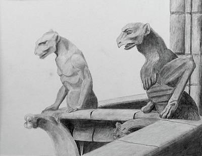Gargoyle Drawing - Gargoyles by Audrey Lund