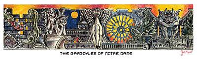 Gargoyle Painting - Gargoyles Of Notre Dame by John Keaton