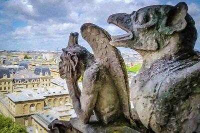 Photograph - Gargoyles Of Notre Dame- Painted by Joe Myeress
