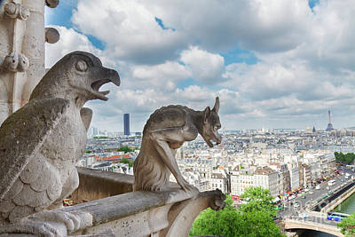 Paris Skyline Royalty-Free and Rights-Managed Images - Gargoyles of Paris by Anastasy Yarmolovich