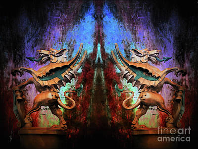 Digital Art - Gargoyles On Watch by Gina Geldbach-Hall
