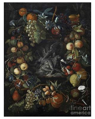 Prometheus Painting - Garland Of Flowers And Fruits With Prometheus And The Eagle by MotionAge Designs