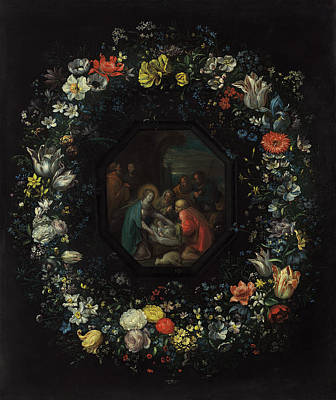 Painting - Garland Of Flowers With Adoration Of The Shepherds by Frans Francken the Younger and Master HDB