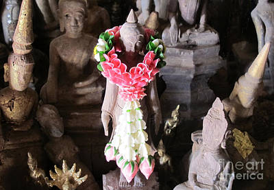 Photograph - Garlanded Buddha II by Ethna Gillespie