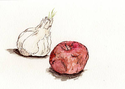 Painting - Garlic And Apple by Rachel Barlow