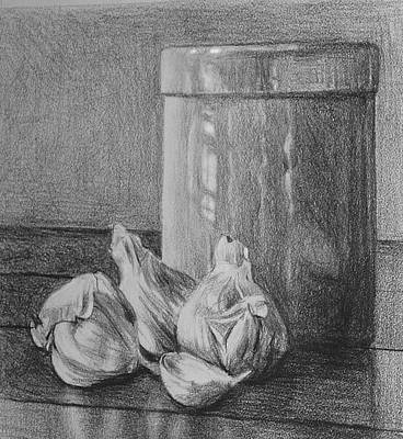Crocks Drawing - Garlic And Crock by William Hay