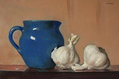 Painting - Garlic And Old Blue Creamer by Robert Holden