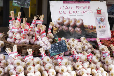 Ailing Photograph - Garlic At A French Market by Georgia Fowler