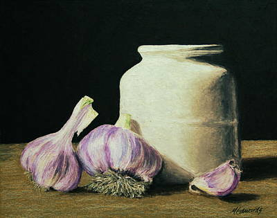 Crocks Painting - Garlic Crock by Marna Edwards Flavell
