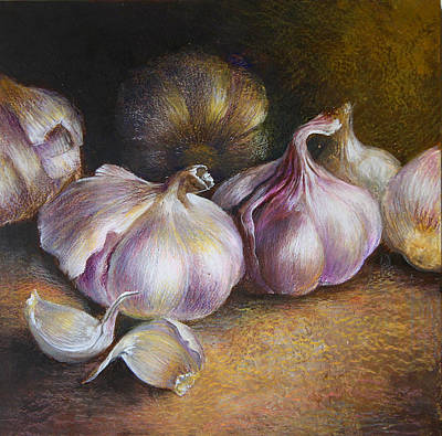 Dracula Drawing - Garlic Painting by Vali Irina Ciobanu