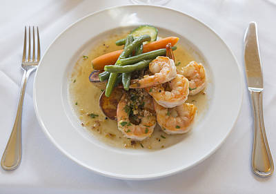 Green Beans Photograph - Garlic Prawns by Louise Heusinkveld