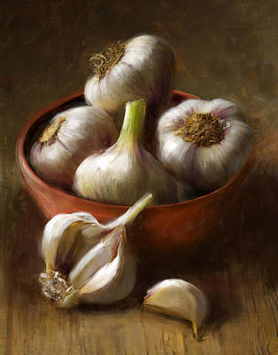 Food And Beverage Painting - Garlic by Robert Papp