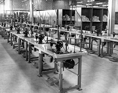 Factory Photograph - Garment Factory Interior by Underwood Archives