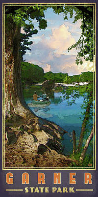 Canoe Digital Art - Garner State Park by Jim Sanders