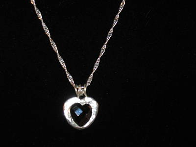 Sterling Silver Chains Jewelry - Garnet Heart by Louise Musto-Choate