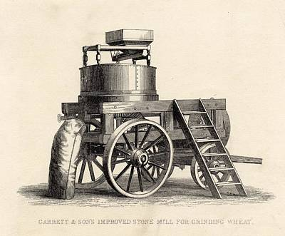 Machinery Drawing - Garrett And Son S Improved Stone Mill by Vintage Design Pics