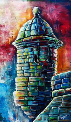 Puerto Rico Painting - Garrita Del  Morro by Juan Hernandez
