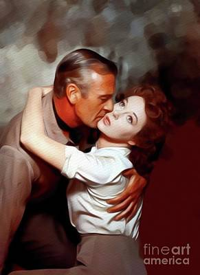 Painting - Gary Cooper And Susan Hayward, Hollywood Legends by John Springfield