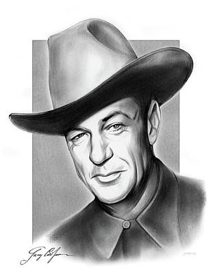 Drawings Rights Managed Images - Gary Cooper Signature Royalty-Free Image by Greg Joens