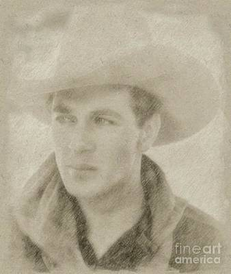 Star Trek Drawing - Gary Cooper Vintage Hollywood Star by Frank Falcon