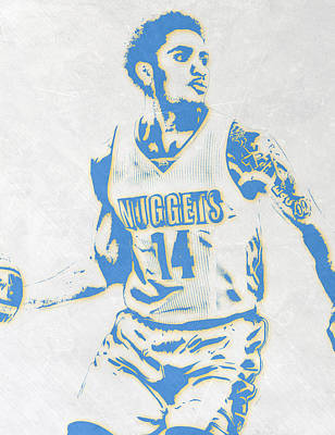 Basket Ball Mixed Media - Gary Harris Denver Nuggets Pixel Art by Joe Hamilton