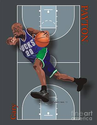 Gary Payton Art Print by Walter Oliver Neal