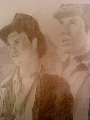 Drawing - Gary Sinise And John Malkovich by Milton  Gore