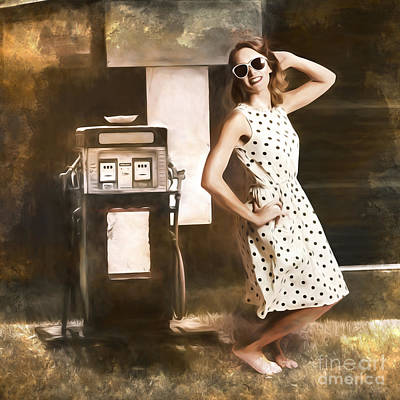 Polkadots Painting - Gas And Oil Painting Pinup  by Jorgo Photography - Wall Art Gallery