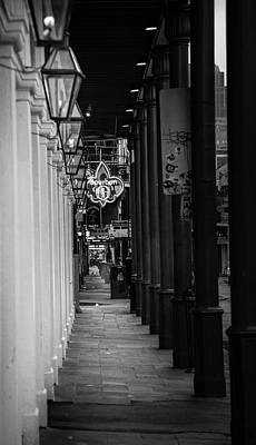 Gas Lamps On Bourbon In Black And White Art Print