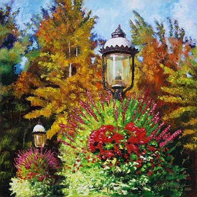Gas Lamp Painting - Gas Light Square by John Lautermilch