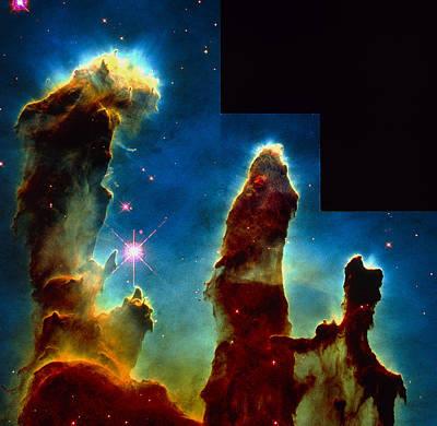 Eagle Nebula Photograph - Gas Pillars In Eagle Nebula by Nasaesastscij.hester & P.scowen, Asu