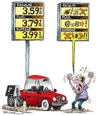Drawing - Gas Price Curse by Daryl Cagle