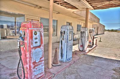 Desert Digital Art - Gas Pumps by Matthew Bamberg