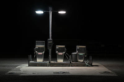 Photograph - Gas Pumps With Stray Cat by Bud Simpson