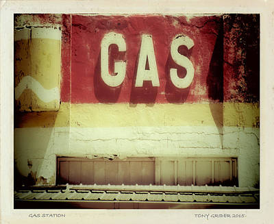 Photograph - Gas Station Sign Polaroid Transfer by Tony Grider