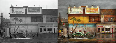 Photograph - Gas Station - Dreaming Of Summer 1937 - Side By Side by Mike Savad